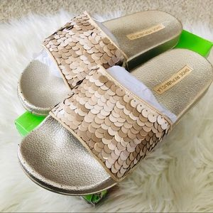 Women's Gold Sequence Slides Size 7